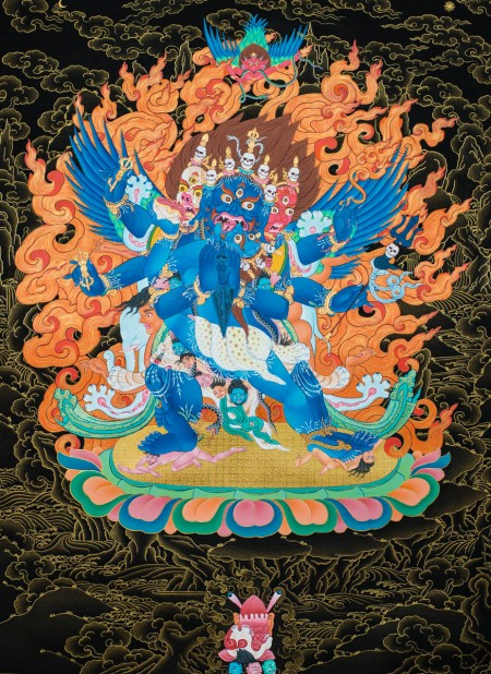 Vajrakilaya with Consort in black and gold