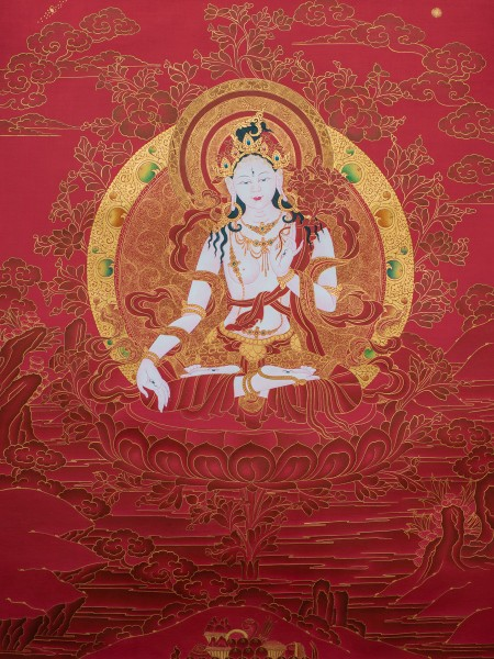 White Tara in Red and Gold