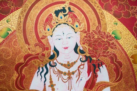 White Tara in Red and Gold A (detail)