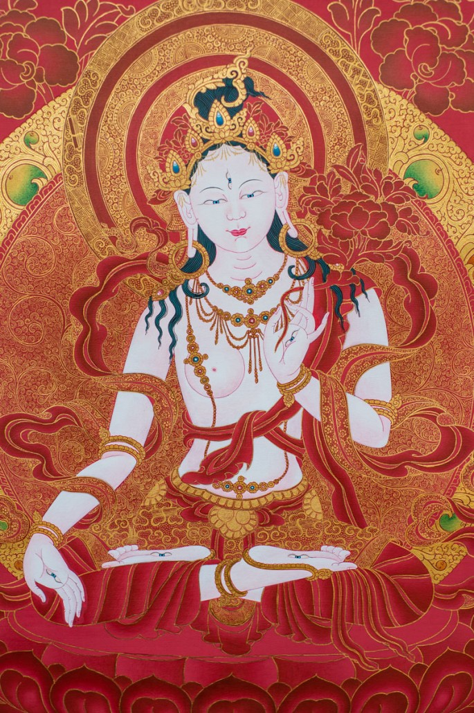 White Tara in Red and Gold B (detail)
