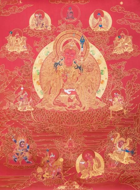 Padmasambhava & his 8 manifestations. Red & Gold style.  45x60cm.