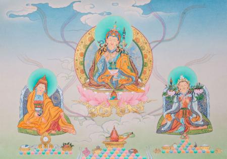 Padmasambhava with  King Trisong Deutsen amd the Abbot Shantarakshita. Karma Ghadri style. 36x50cm.