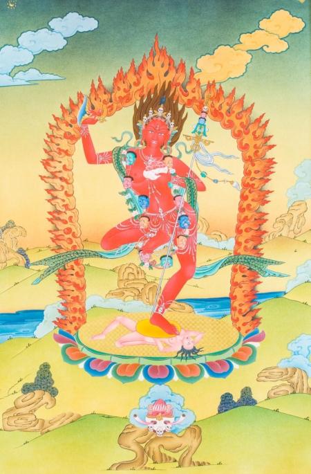 Karma Gadri style in antique color.40x60cm.