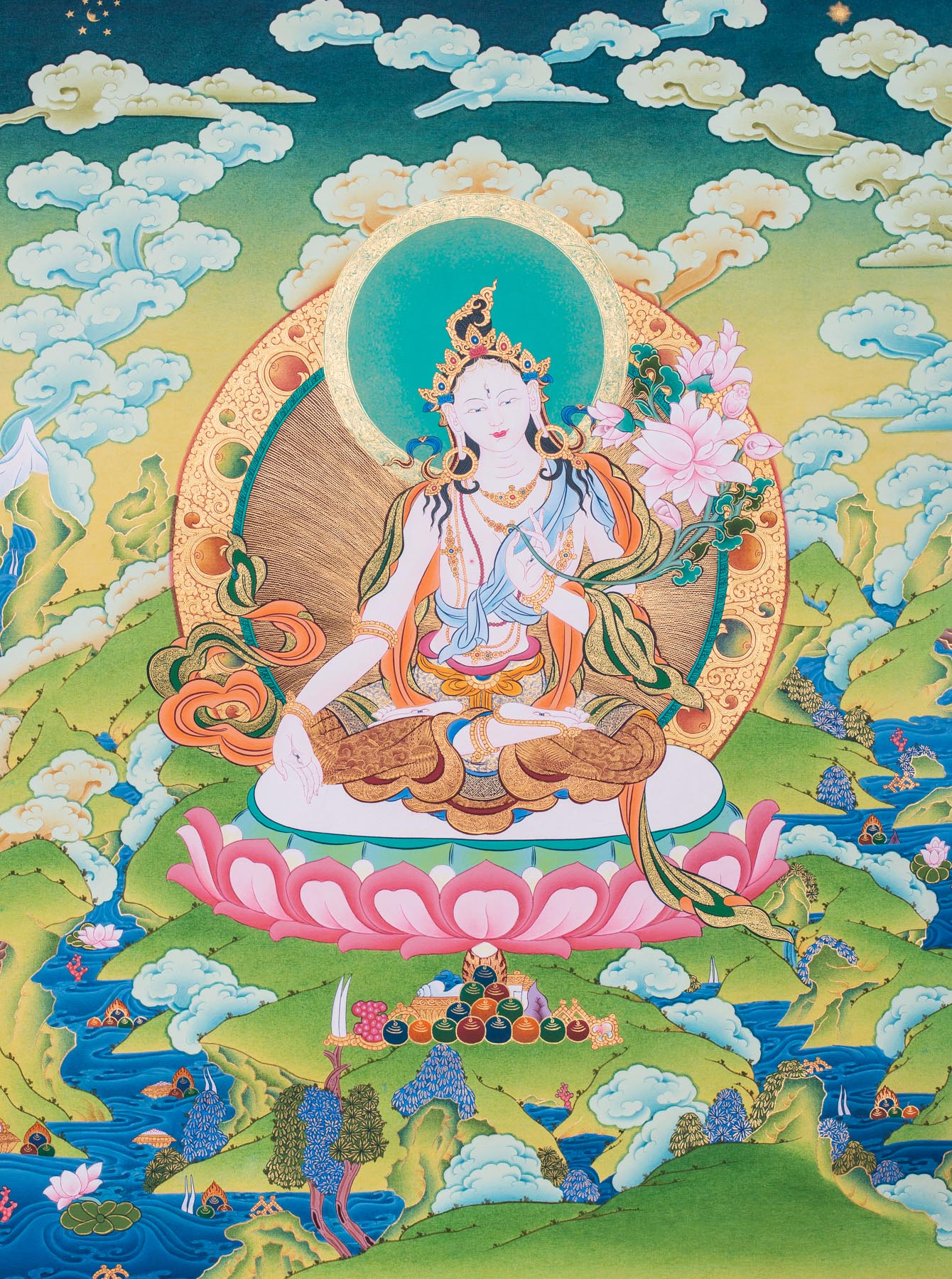 white tara iii  thangka
