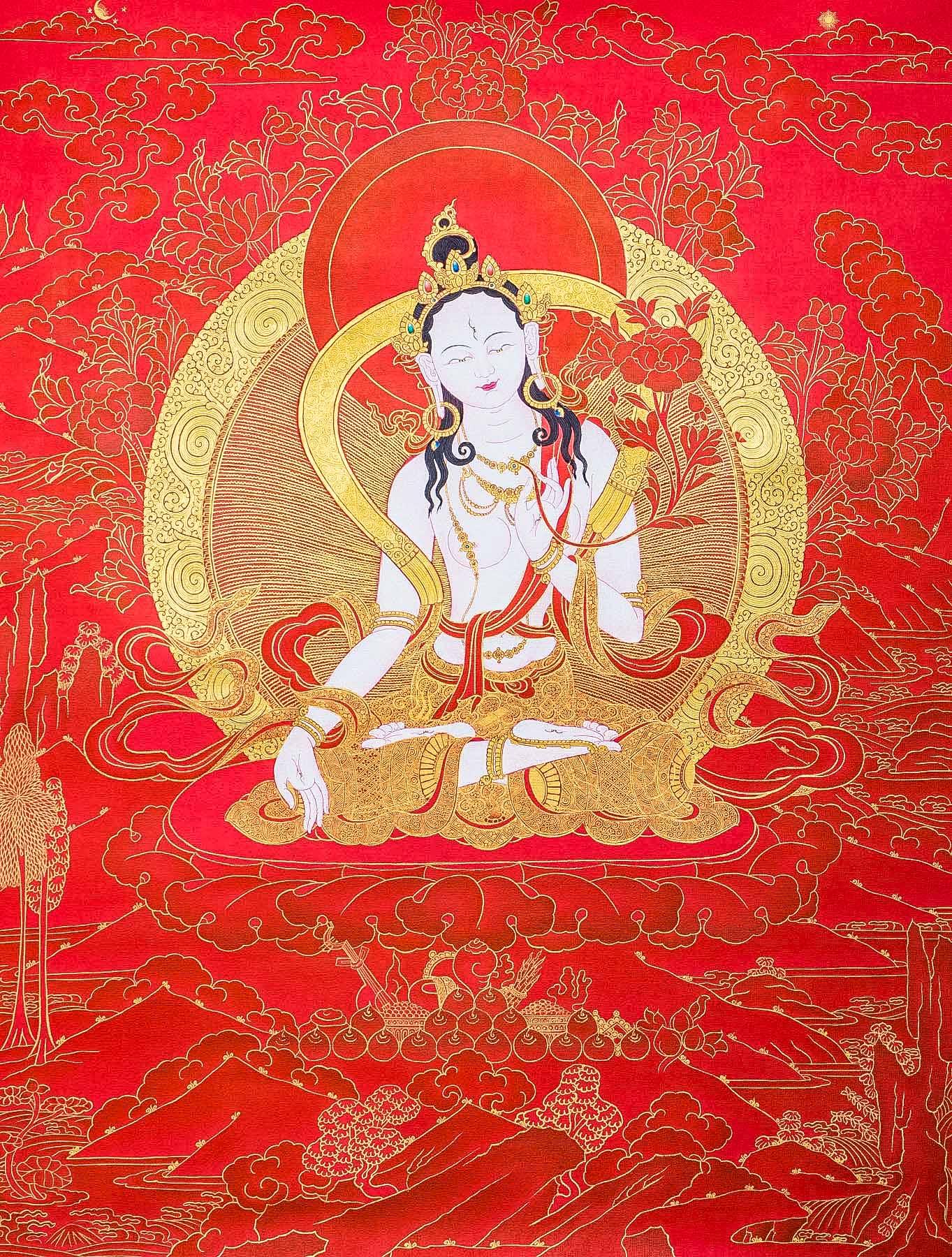 white tara in red and gold ii thangka ioe dakini as art