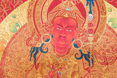 8 Manfestations of Guru Rinpoche (Detail A). Red & Gold style.