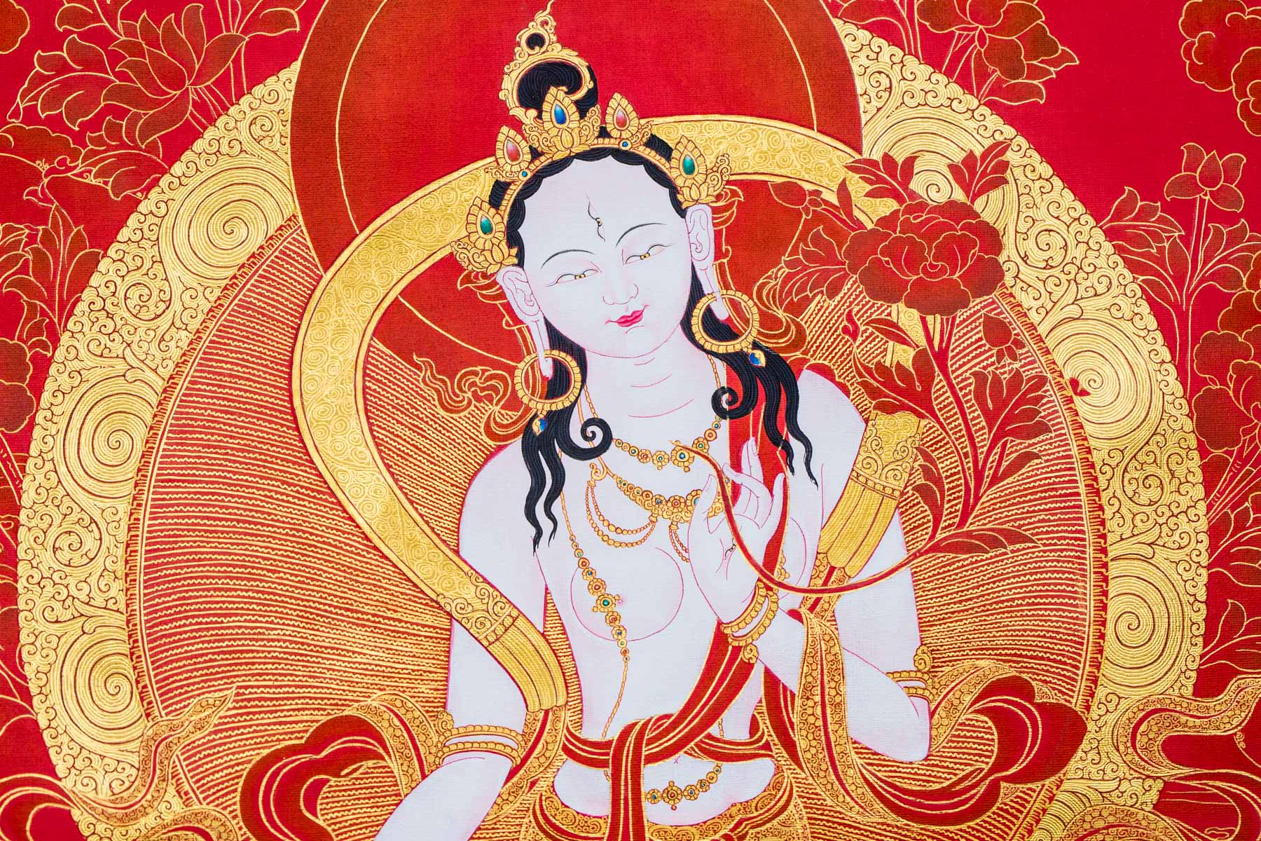 White Tara in Red and Gold II (Detail B)