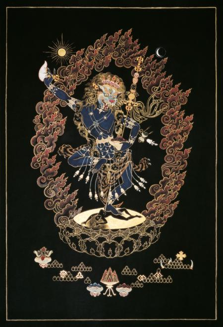 Thangka Simhamukha. Natural pigments on canvas.