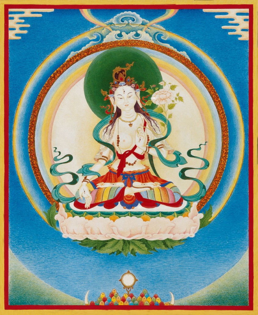 Thangka White Tara, chemical and natural pigments on canvas.