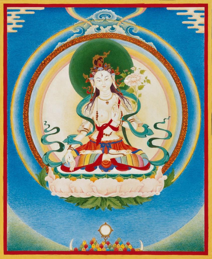 Thangka White Tara, chemical and natural pigments on canvas.