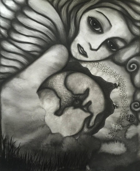Genesis 3, July 2016 (Charcoal & Japanese ink on watercolour paper, 50x40cm)