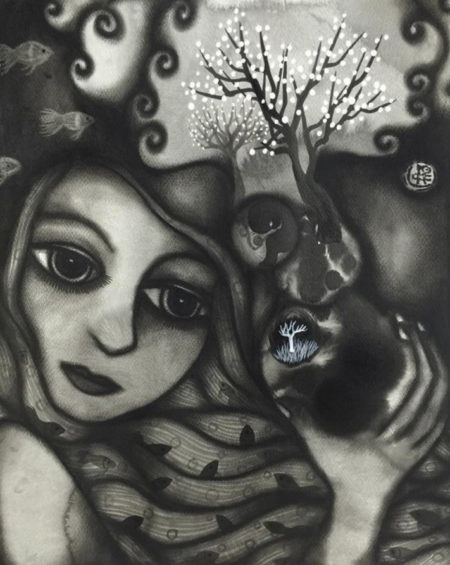 Prophet 4, March 2016 (Charcoal & ink on watercolour paper, 50x40cm)