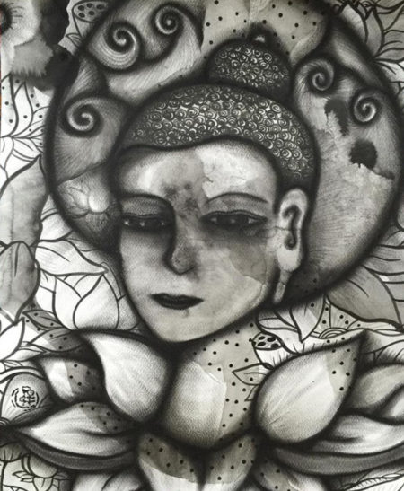 Sangye, April 2016 (Charcoal & ink on paper, 50x40cm)