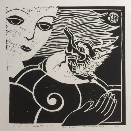 The Makara, October 2016 (Linocut print, 30x30cm)