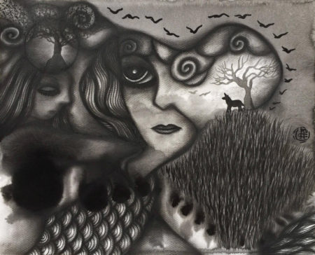 When Minds Meet, August 2016 (Charcoal & Japanese ink on watercolour paper, 40x50cm)