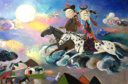 New stunning work by Mongolian painter Soyolmaa Davaakhuu, April 2018.  www.dakiniasart.org